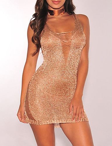 Women's Beach Club Street chic Bodycon Dress - Solid Colored Slim Sexy Stylish Hole High Rise Mini U Neck