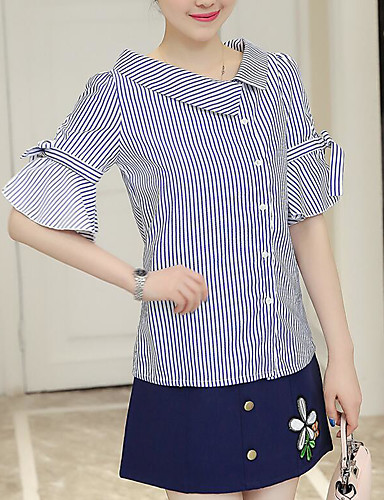 Women's Daily Casual Summer T-shirt Skirt Suits,Striped Color Block Embroidery V Neck 1/2 Length Sleeve Cotton
