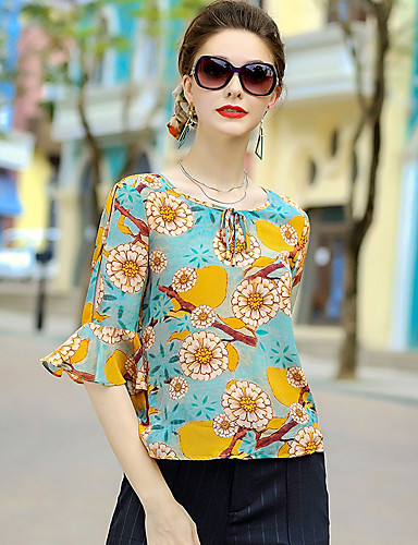 Women's Going out Cute Blouse,Floral Round Neck Half Sleeves Silk