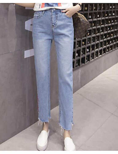 Women's Mid Rise Micro-elastic Jeans Pants,Simple Slim Solid