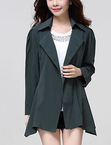 Women's Daily Modern/Comtemporary Fall Trench Coat,Solid Shirt Collar Long Sleeve Long Others
