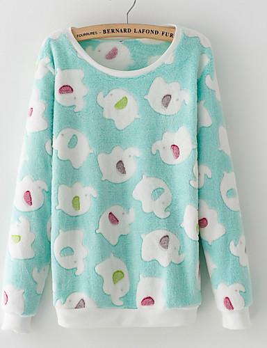 Women's Daily Sweatshirt Print Round Neck Micro-elastic Rayon Long Sleeve Winter