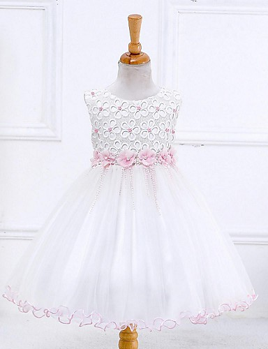 Ball Gown Knee Length Flower Girl Dress - Organza Sleeveless Jewel Neck with Beading Embroidery Zipper Ruched by