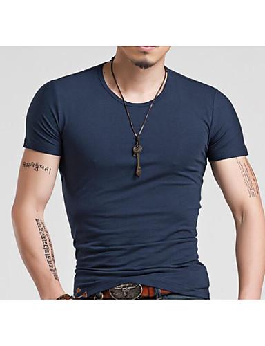Bomull Kortermet,Rund hals T-skjorte Ensfarget Aktiv Ut på byen Herre