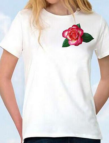 Bomull Kortermet,Rund hals T-skjorte Blomstret Enkel Fritid/hverdag Dame