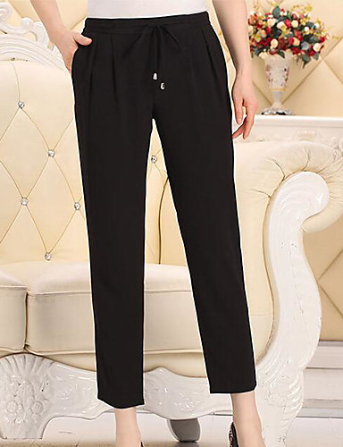 Women's Mid Rise Micro-elastic Chinos Pants,Simple Straight Pure Color Solid