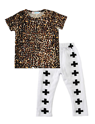 Baby Kids' Cotton Daily Leopard Print Clothing Set Spring/Fall Summer T Shirt Cross Pants 2pcs  Outfits for Kids Boys