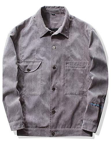 Men's Daily Going out Plus Size Simple Vintage Casual Active Street chic Spring Fall Jacket,Solid Print Notch Lapel Long Sleeve Regular