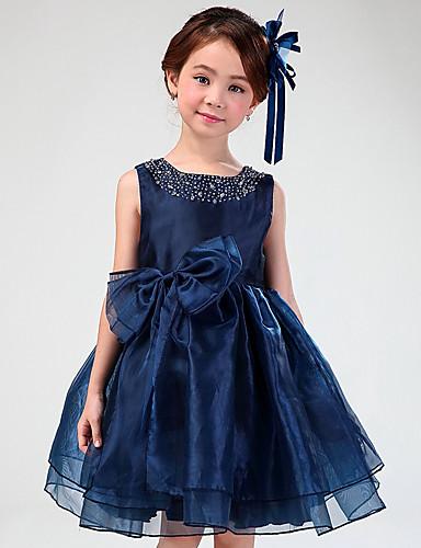 A-Line Short / Mini Flower Girl Dress - Organza Sleeveless Jewel Neck with Rhinestone Bowknot