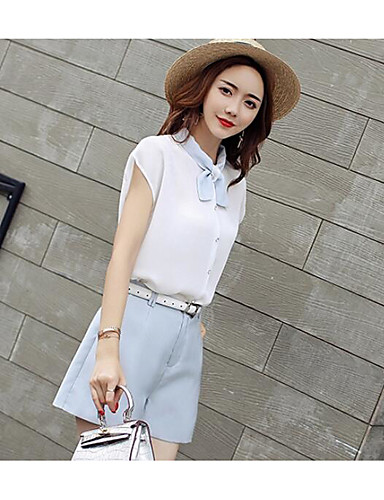 Women's Daily Casual Contemporary Summer Shirt Pant Suits,Solid Asymmetrical Short Sleeve Polyster