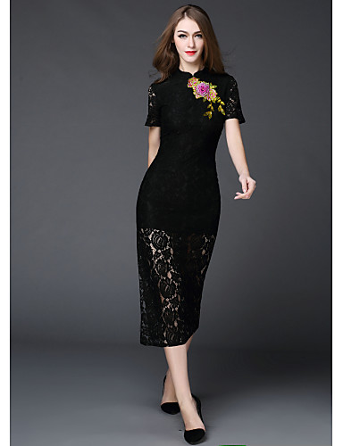 MMLJ Women's Daily Going out Vintage Sheath Dress,Solid Embroidered Stand Midi Short Sleeves Polyester Summer Mid Rise Micro-elastic Medium