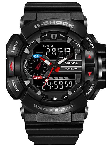 e8cf8cb331a SMAEL Homens Relógio Esportivo Relógio Militar Relogio digital Japanês  Digital Couro PU Acolchoado Silicone Preta   Vermelho   Laranja 50 m  Impermeável ...
