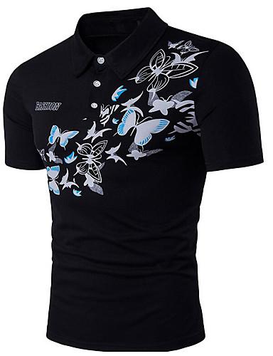 Homens Polo Estampado Algodão Colarinho de Camisa / Manga Curta