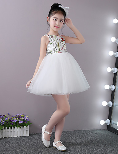Princess Short / Mini Flower Girl Dress - Stick-Satin Lace Tulle Sleeveless Jewel Neck with Ruffles