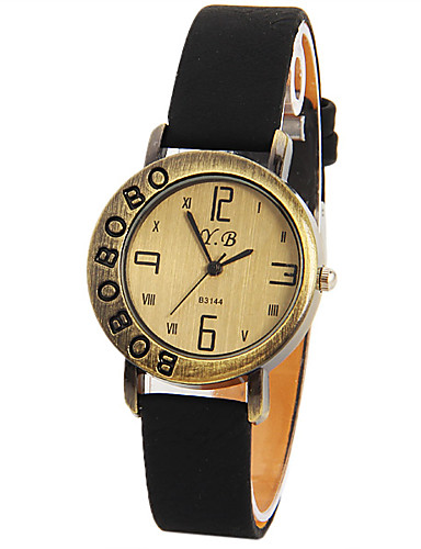 Mulheres Relógio de Pulso Chinês Mostrador Grande Couro Banda Vintage / Fashion / Relógio Criativo Único Preta / Branco / Vermelho