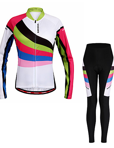 cheap Cycling Clothing-WOSAWE Women's Long Sleeve Cycling Jersey with Tights - Rainbow Stripes Bike Clothing Suit Moisture Wicking Quick Dry Reflective Strips Sports Polyester Spandex Stripes Mountain Bike MTB Road Bike