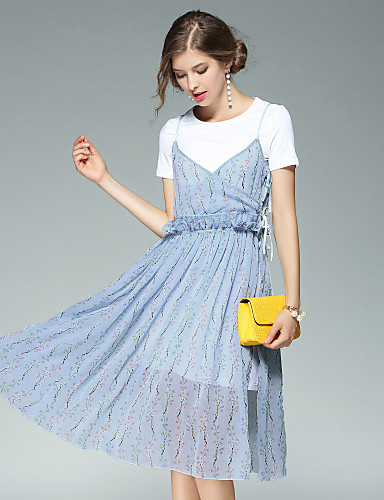 Women's Daily Going out Street chic A Line Dress,Floral Round Neck Knee-length Short Sleeves Polyester Summer Fall High Rise Micro-elastic