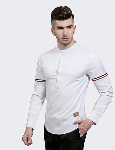 Opprett krage Skjorte Herre - Ensfarget Chinoiserie Daglig / Arbeid / Langermet