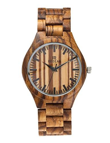 Redear Homens Relógio Madeira Japanês Quartzo de madeira Madeira Banda Luxo Elegant Preta Marrom