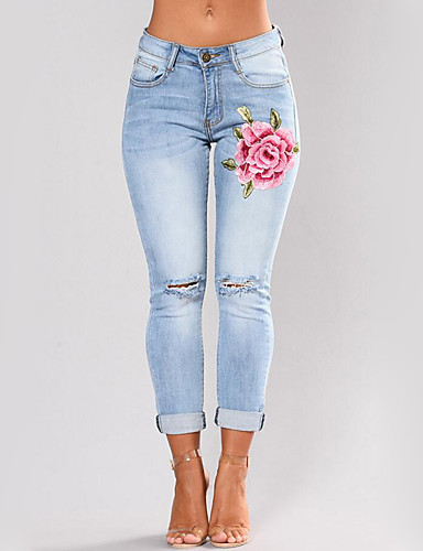 Women's Skinny Skinny Slim Jeans Pants - Embroidery, Embroidered