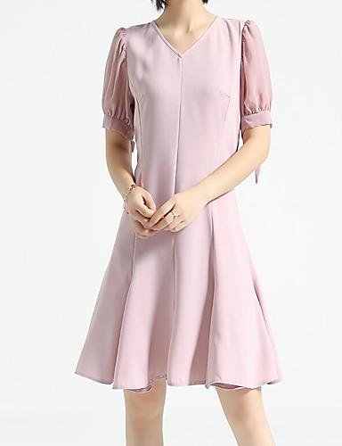 Women's Casual/Daily A Line Dress,Solid V Neck Knee-length Half Sleeves Cotton Polyester Summer Mid Rise Micro-elastic Medium