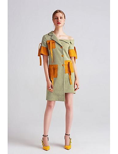 Mulheres Reto Vestido - Côr Misturada, Estampa Colorida Xadrez Assimétrico