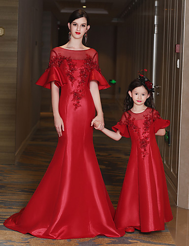 Mermaid / Trumpet Illusion Neckline Sweep / Brush Train Satin Tulle Sequined Nylon Taffeta Formal Evening Dress with Beading Crystal