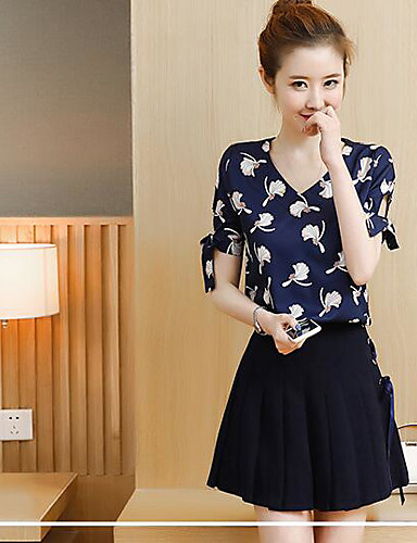 Women's Daily Modern/Contemporary Summer T-shirt Skirt Suits,Print V Neck Short Sleeve Chiffon