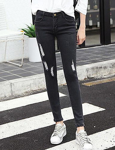 Women's Mid Rise strenchy Skinny Pants,Simple Skinny Solid
