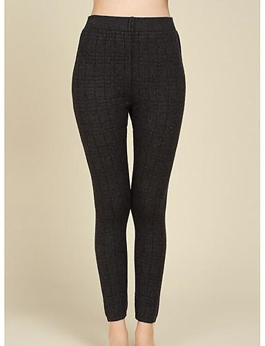 Women's Mid Rise Micro-elastic Skinny Pants,Simple Skinny Check