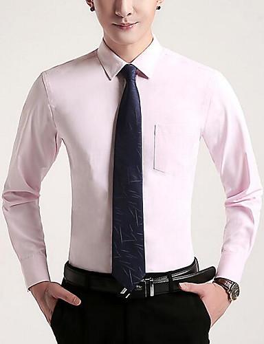 Men's Daily Casual Fall Shirt,Solid Shirt Collar Long Sleeves Cotton