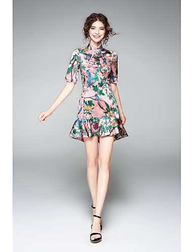 Women's Party Holiday Going out Vintage Chinoiserie Sophisticated Sheath Dress,Print Stand Above Knee Short Sleeves Polyester Summer Mid