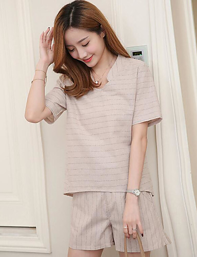Women's Casual Casual Summer T-shirt Pant Suits,Solid Asymmetrical Short Sleeve Cotton/nylon with a hint of stretch Micro-elastic