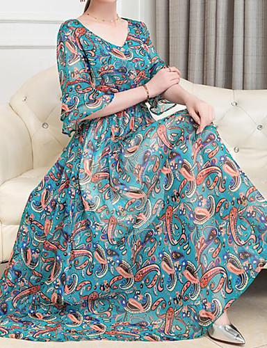 Mulheres Tamanhos Grandes Boho Reto Vestido Xadrez Decote Princesa Longo