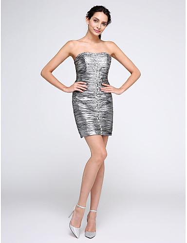 Tube / kolonne Stroppeløs Kort / mini Polyester Cocktailfest Ball Kjole med Perlearbeid Bølgemønster av TS Couture®