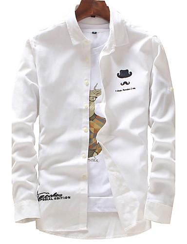 Bomull Polyester Medium Langermet,Skjortekrage Skjorte Ensfarget Trykt mønster Alle sesonger Høst Vintage Enkel GatemoteUt på byen