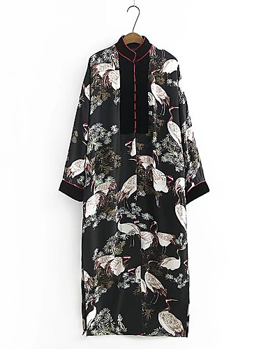 Women's Daily Pattern Spring/Fall Trench Coat