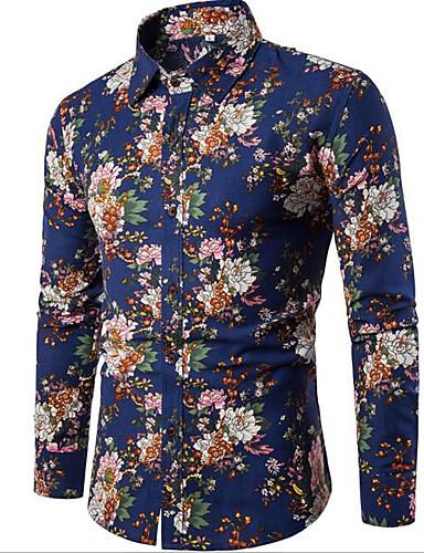Men's Daily Going out Vintage Casual All Seasons Shirt,Geometric Print Shirt Collar Long Sleeves Cotton Rayon Medium