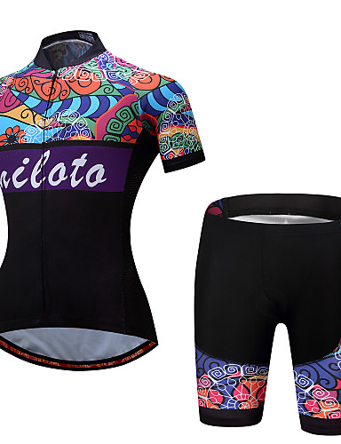 cheap Cycling Clothing-Miloto Women's Short Sleeve Cycling Jersey with Shorts - Rainbow Floral Botanical Plus Size Bike Clothing Suit Sports Polyester Spandex Floral Botanical Mountain Bike MTB Road Bike Cycling Clothing