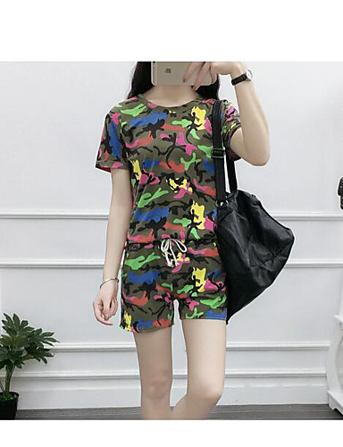 Women's Daily Casual Summer T-shirt Pant Suits,Floral Round Neck Short Sleeve Spandex