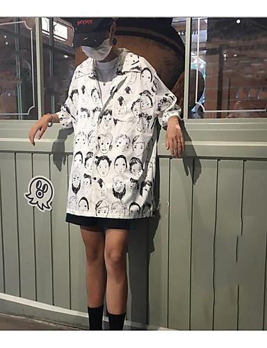 Polyester Kortermet,Firkantet hals Skjorte Trykt mønster Punk & Gotisk Fritid/hverdag Herre