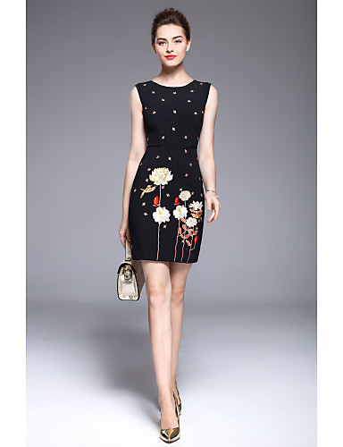 MARCOBOR Women's Plus Size Street chic A Line Sheath Dress - Embroidered, Floral Style