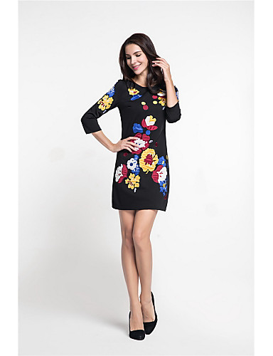 MARCOBOR Women's Party Work Vintage Street chic Sophisticated Sheath Dress,Print Embroidered Round Neck Above Knee 3/4 Length Sleeves Polyester