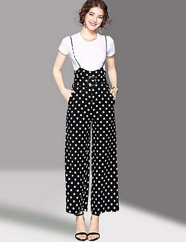 Women's Going out Cute Summer T-shirt Pant Suits,Polka Dot Round Neck Short Sleeve Micro-elastic