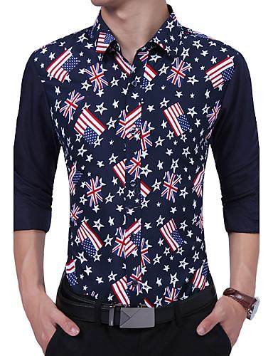 Men's Daily Work Vintage Casual All Seasons Shirt,Print Color Block Shirt Collar Long Sleeves Cotton Rayon Thin