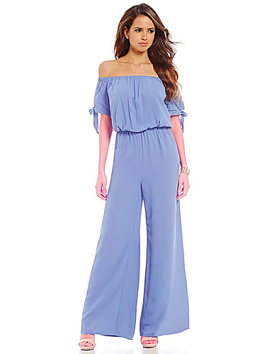 Women's Holiday / Going out / Club Casual / Street chic Puff Sleeve Cotton Jumpsuit - Solid Colored, Backless Boat Neck / Spring / Summer