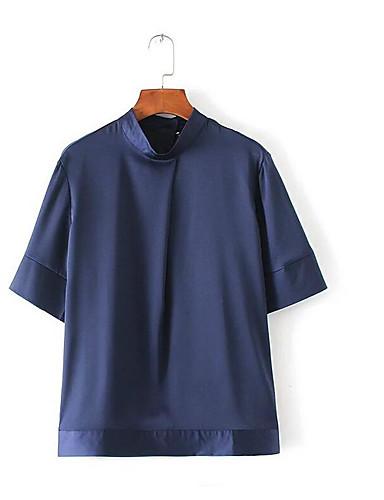 Naiset Puolihiha Poolokaulus Polyesteri Yksinkertainen Päivittäin Kausaliteetti T-paita,Yhtenäinen