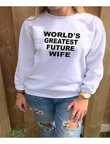 Women's Daily Sweatshirt Letter Round Neck Micro-elastic Cotton Long Sleeve Spring