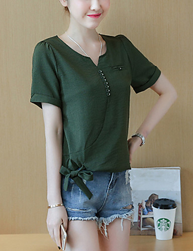 Women's Plus Size Puff Sleeve Cotton Blouse - Solid Colored Bow V Neck