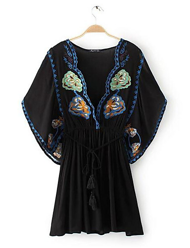 Women's Casual/Daily Tunic Chiffon Dress,Solid Floral Print Deep V Above Knee Half Sleeves Cotton Others Summer Mid Rise Inelastic Thin